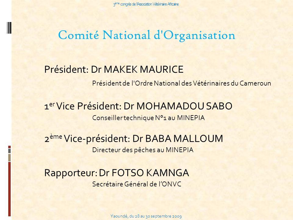 Yaoundé, du 28 au 30 septembre 2009 3 ème congrès de l Association Vétérinaire Africaine Comité National d Organisation Président: Dr MAKEK MAURICE 1 er Vice Président: Dr MOHAMADOU SABO 2 ème Vice-président: Dr BABA MALLOUM Rapporteur: Dr FOTSO KAMNGA Président de l Ordre National des Vétérinaires du Cameroun Conseiller technique N°1 au MINEPIA Directeur des pêches au MINEPIA Secrétaire Général de lONVC