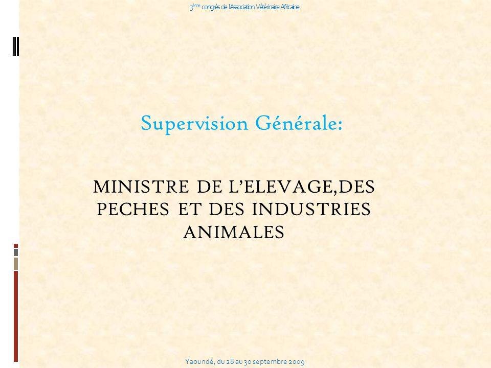 Yaoundé, du 28 au 30 septembre 2009 3 ème congrès de l Association Vétérinaire Africaine Supervision Générale: MINISTRE DE LELEVAGE,DES PECHES ET DES INDUSTRIES ANIMALES