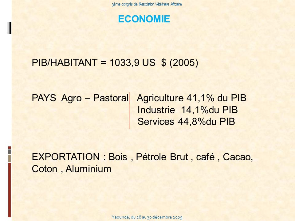 Yaoundé, du 28 au 30 décembre 2009 3ème congrès de l Association Vétérinaire Africaine PIB/HABITANT = 1033,9 US $ (2005) PAYS Agro – Pastoral Agriculture 41,1% du PIB Industrie 14,1%du PIB Services 44,8%du PIB EXPORTATION : Bois, Pétrole Brut, café, Cacao, Coton, Aluminium ECONOMIE