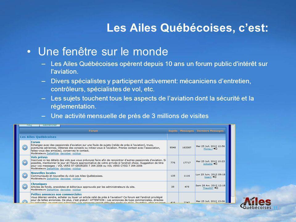 Une fenêtre sur le monde –Les Ailes Québécoises opèrent depuis 10 ans un forum public d intérêt sur l aviation.