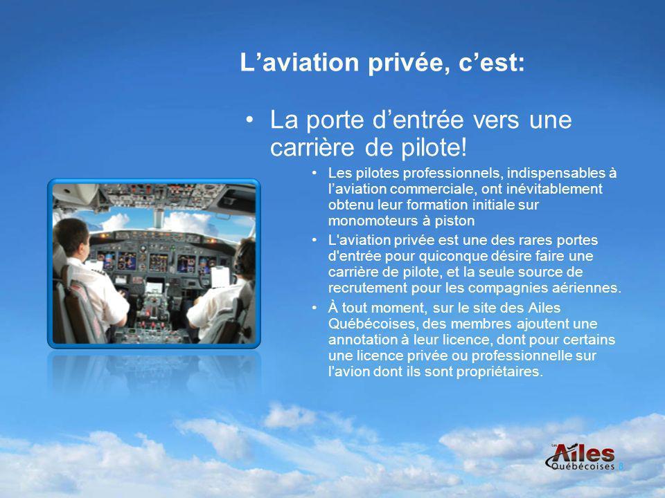 Laviation privée, cest: La porte dentrée vers une carrière de pilote.