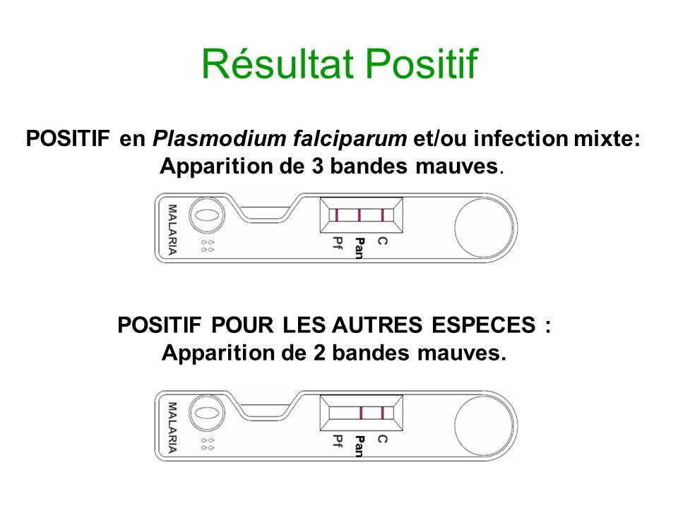 Résultat Positif POSITIF en Plasmodium falciparum et/ou infection mixte: Apparition de 3 bandes mauves. POSITIF POUR LES AUTRES ESPECES : Apparition d