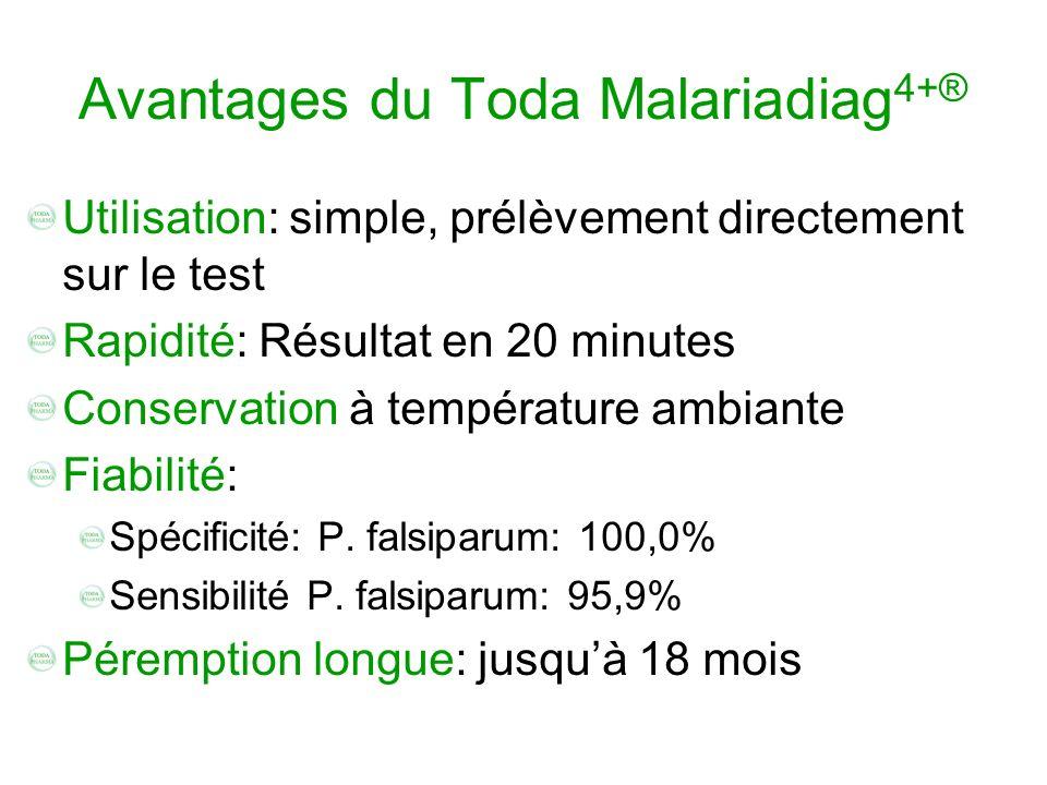 Avantages du Toda Malariadiag 4+® Utilisation: simple, prélèvement directement sur le test Rapidité: Résultat en 20 minutes Conservation à température