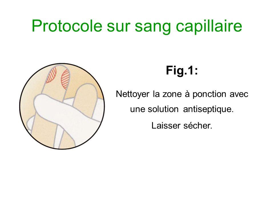 Protocole sur sang capillaire Fig.1: Nettoyer la zone à ponction avec une solution antiseptique. Laisser sécher.