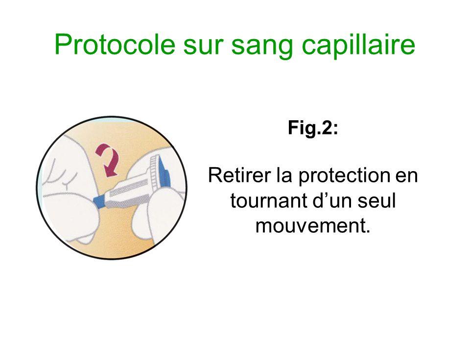 Protocole sur sang capillaire Fig.3: Placer lustensile fermement contre lemplacement.