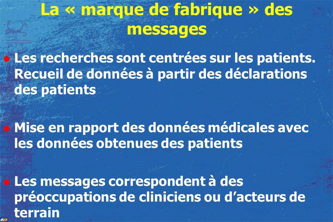 La « marque de fabrique » des messages l Les recherches sont centrées sur les patients. Recueil de données à partir des déclarations des patients l Mi