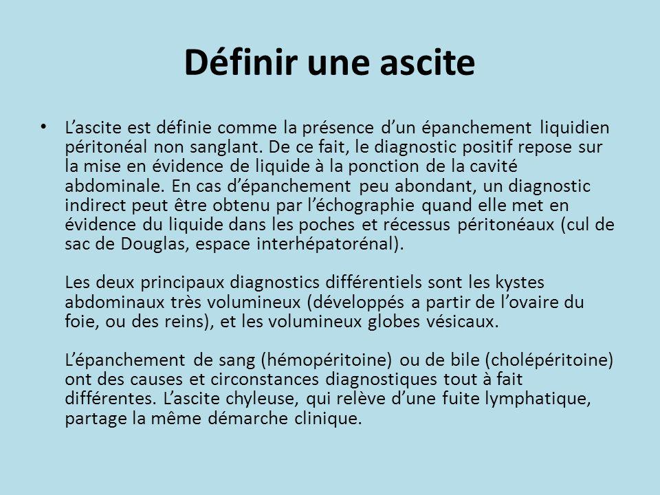 Définir une ascite Lascite est définie comme la présence dun épanchement liquidien péritonéal non sanglant. De ce fait, le diagnostic positif repose s