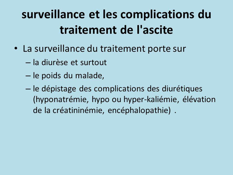 surveillance et les complications du traitement de l'ascite La surveillance du traitement porte sur – la diurèse et surtout – le poids du malade, – le