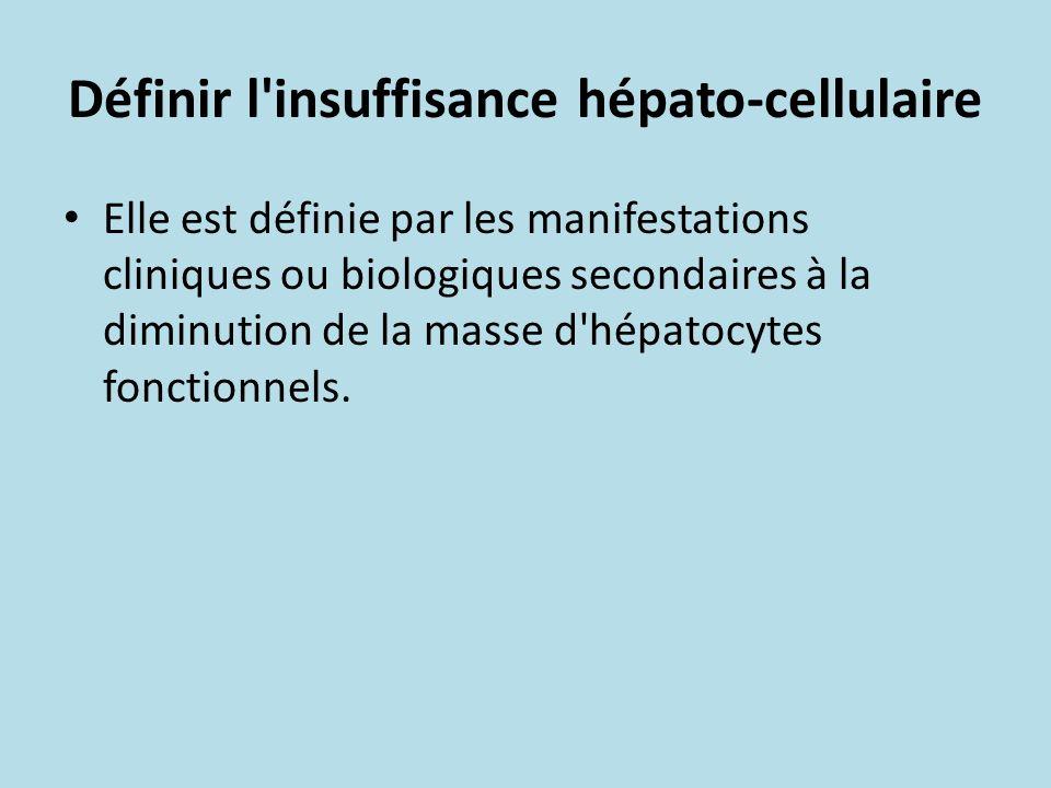Définir l'insuffisance hépato-cellulaire Elle est définie par les manifestations cliniques ou biologiques secondaires à la diminution de la masse d'hé