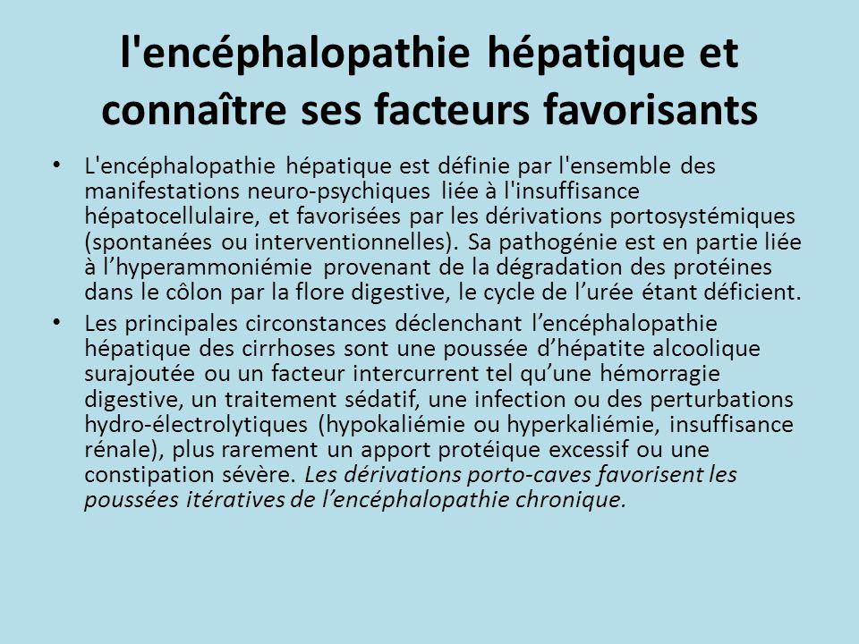 l'encéphalopathie hépatique et connaître ses facteurs favorisants L'encéphalopathie hépatique est définie par l'ensemble des manifestations neuro-psyc