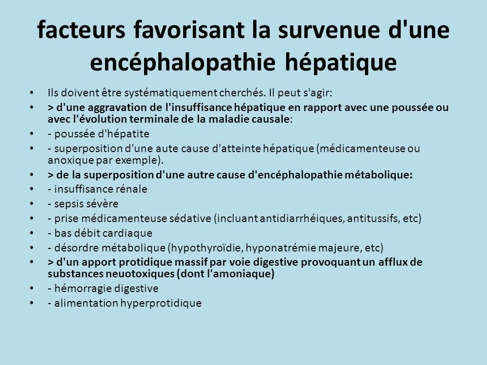 facteurs favorisant la survenue d'une encéphalopathie hépatique Ils doivent être systématiquement cherchés. Il peut s'agir: > d'une aggravation de l'i