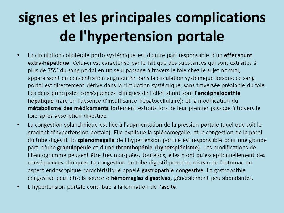 signes et les principales complications de l'hypertension portale La circulation collatérale porto-systémique est d'autre part responsable d'un effet