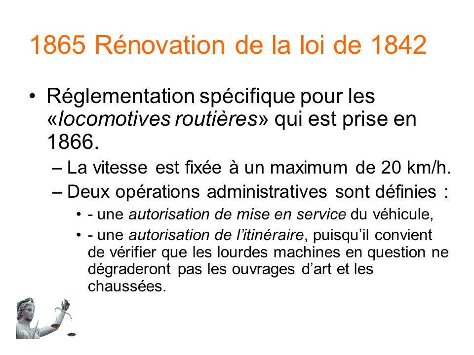 1865 Rénovation de la loi de 1842 Réglementation spécifique pour les «locomotives routières» qui est prise en 1866. –La vitesse est fixée à un maximum