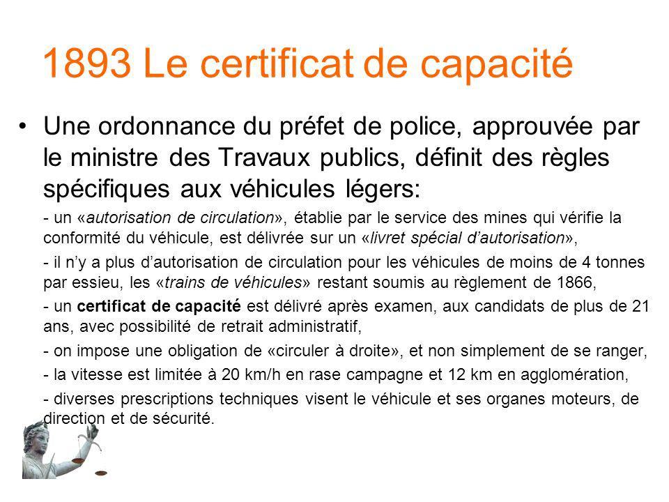 1893 Le certificat de capacité Une ordonnance du préfet de police, approuvée par le ministre des Travaux publics, définit des règles spécifiques aux v