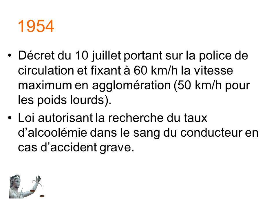 1954 Décret du 10 juillet portant sur la police de circulation et fixant à 60 km/h la vitesse maximum en agglomération (50 km/h pour les poids lourds)