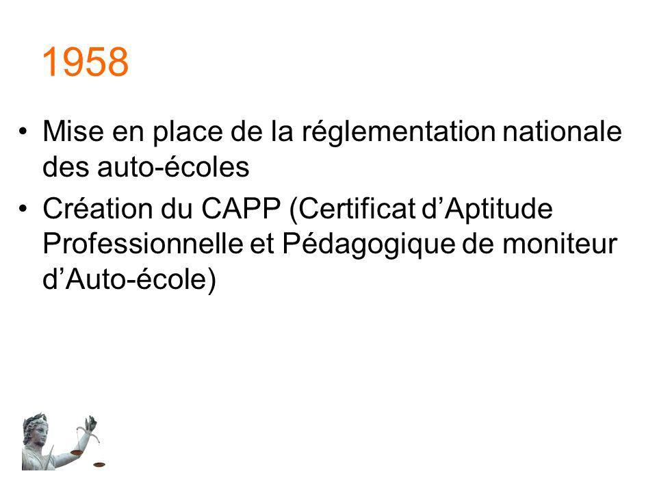 1958 Mise en place de la réglementation nationale des auto-écoles Création du CAPP (Certificat dAptitude Professionnelle et Pédagogique de moniteur dA