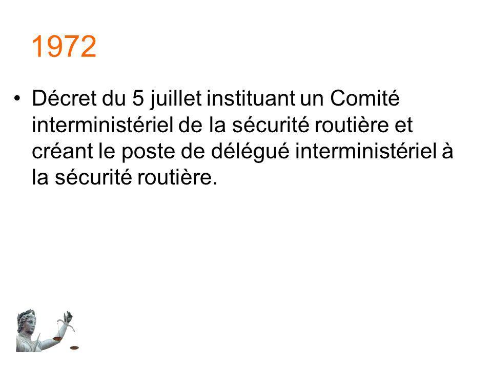 1972 Décret du 5 juillet instituant un Comité interministériel de la sécurité routière et créant le poste de délégué interministériel à la sécurité ro