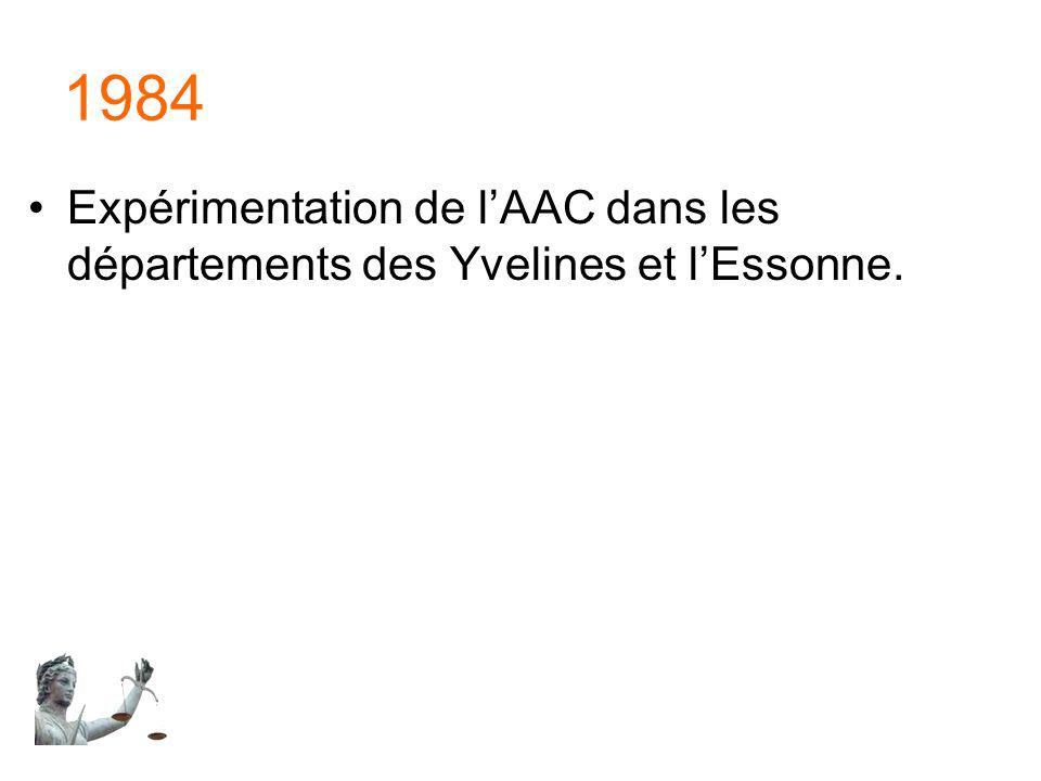 1984 Expérimentation de lAAC dans les départements des Yvelines et lEssonne.