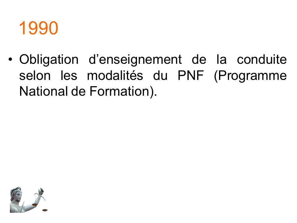 1990 Obligation denseignement de la conduite selon les modalités du PNF (Programme National de Formation).