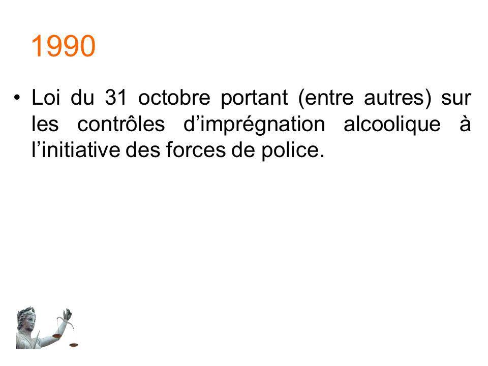 1990 Loi du 31 octobre portant (entre autres) sur les contrôles dimprégnation alcoolique à linitiative des forces de police.