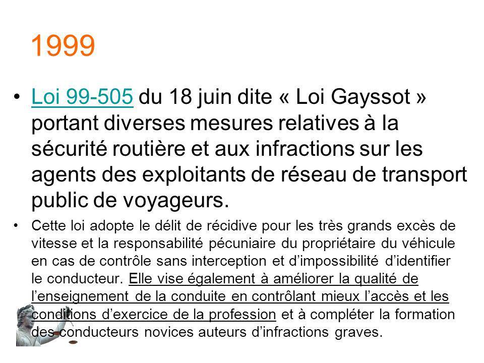 1999 Loi 99-505 du 18 juin dite « Loi Gayssot » portant diverses mesures relatives à la sécurité routière et aux infractions sur les agents des exploi