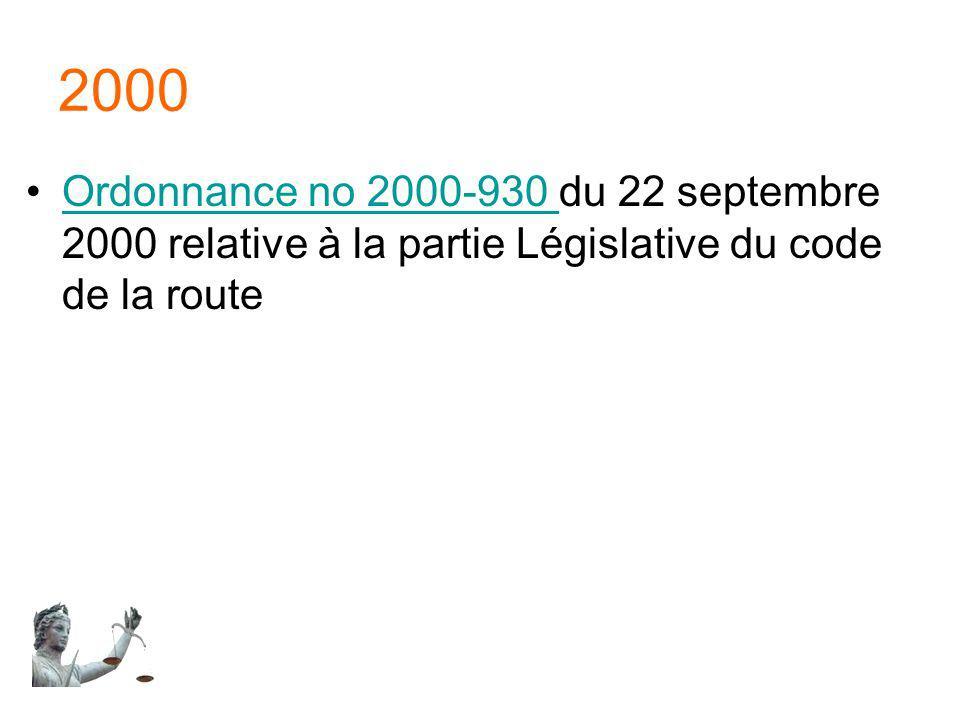 2000 Ordonnance no 2000-930 du 22 septembre 2000 relative à la partie Législative du code de la routeOrdonnance no 2000-930