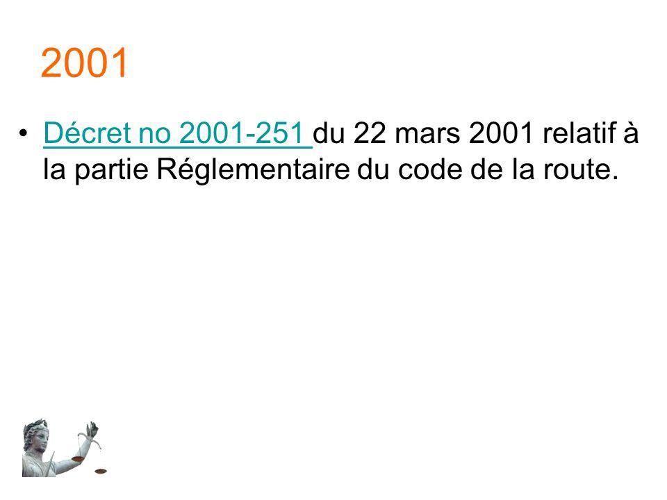 2001 Décret no 2001-251 du 22 mars 2001 relatif à la partie Réglementaire du code de la route.Décret no 2001-251