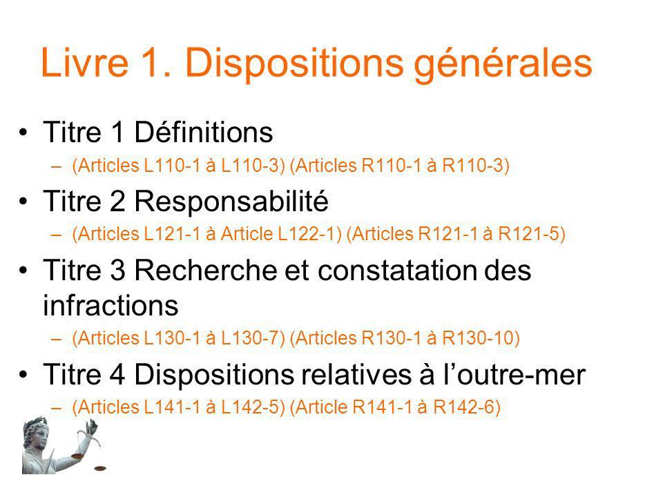 Livre 1. Dispositions générales Titre 1 Définitions –(Articles L110-1 à L110-3) (Articles R110-1 à R110-3) Titre 2 Responsabilité –(Articles L121-1 à