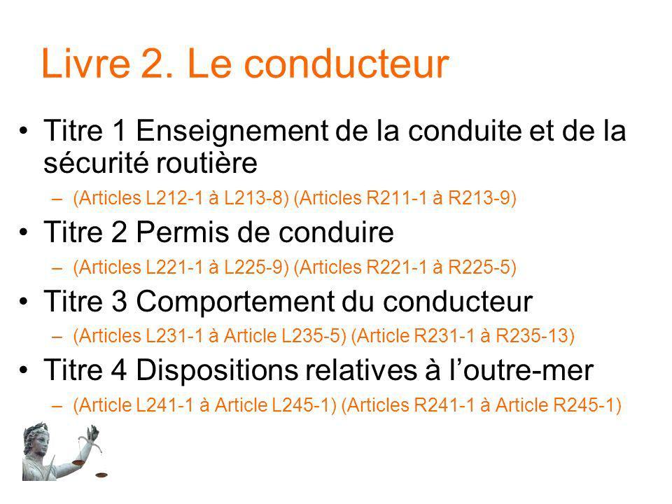 Livre 2. Le conducteur Titre 1 Enseignement de la conduite et de la sécurité routière –(Articles L212-1 à L213-8) (Articles R211-1 à R213-9) Titre 2 P