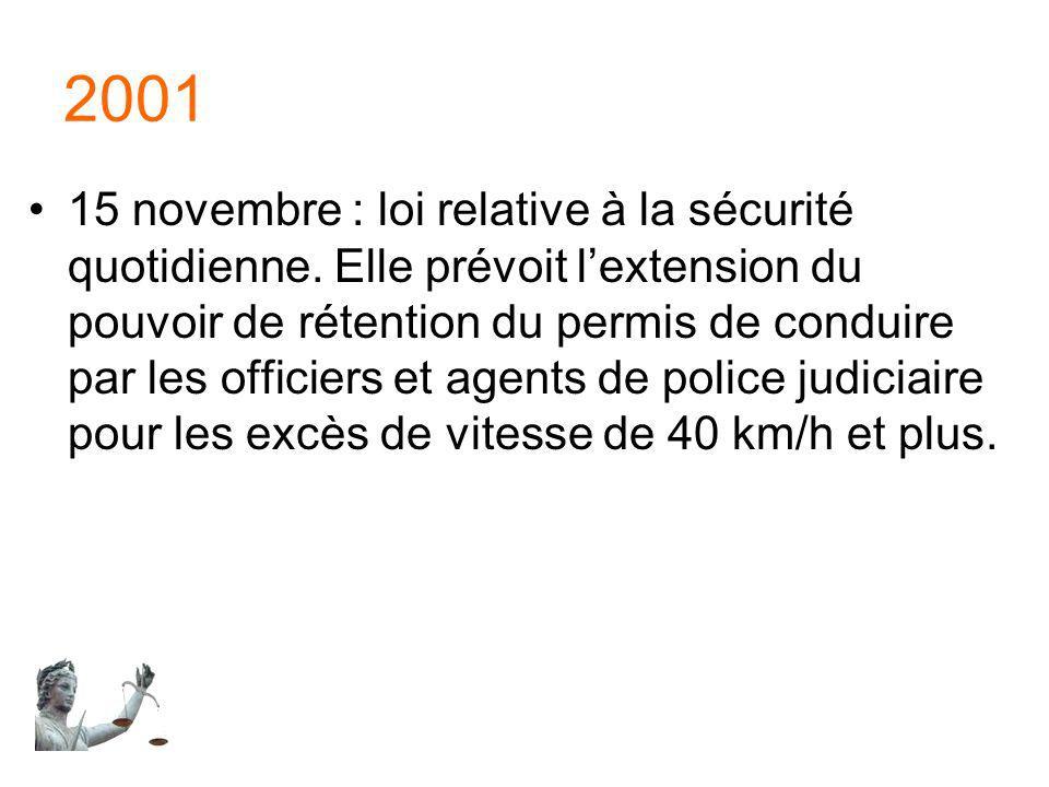 2001 15 novembre : loi relative à la sécurité quotidienne. Elle prévoit lextension du pouvoir de rétention du permis de conduire par les officiers et