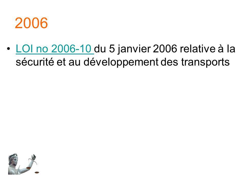 2006 LOI no 2006-10 du 5 janvier 2006 relative à la sécurité et au développement des transportsLOI no 2006-10