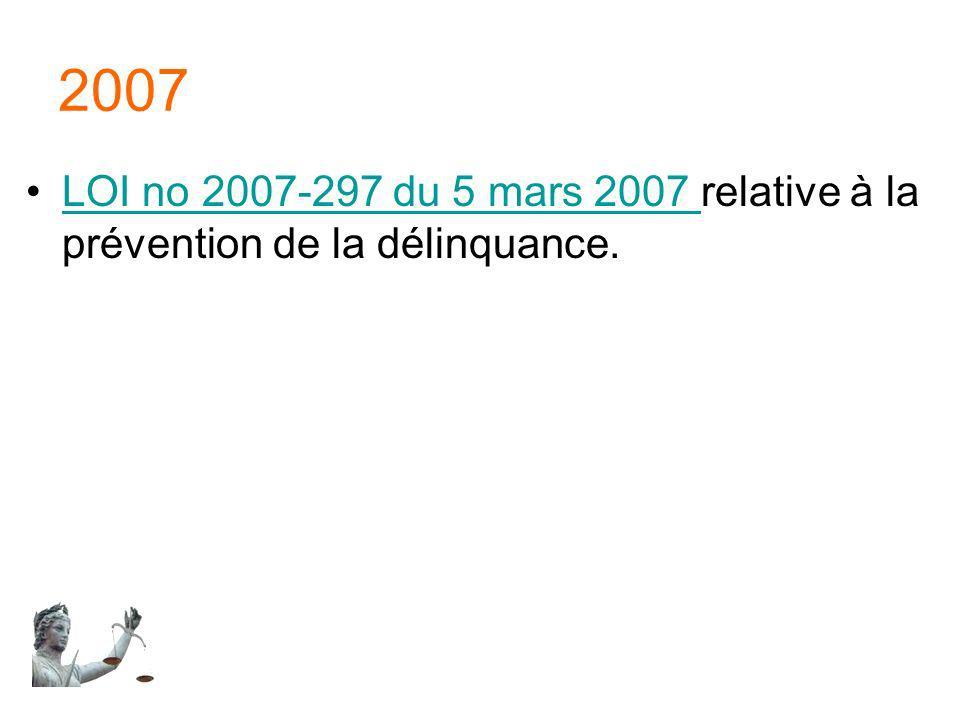 2007 LOI no 2007-297 du 5 mars 2007 relative à la prévention de la délinquance.LOI no 2007-297 du 5 mars 2007