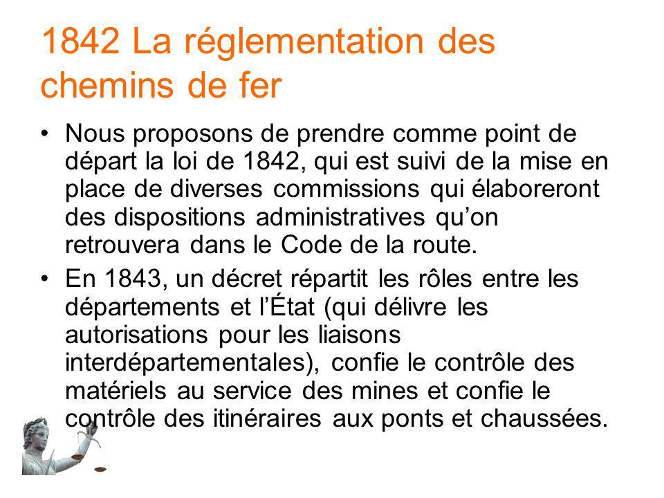 1842 La réglementation des chemins de fer Nous proposons de prendre comme point de départ la loi de 1842, qui est suivi de la mise en place de diverse