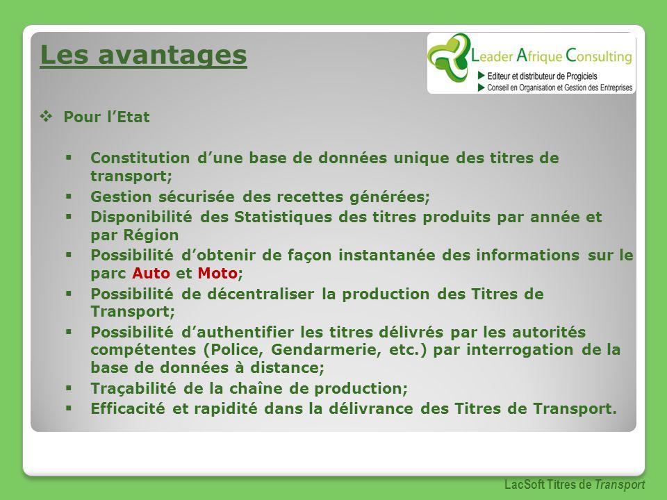 Les avantages Pour lEtat Constitution dune base de données unique des titres de transport; Gestion sécurisée des recettes générées; Disponibilité des