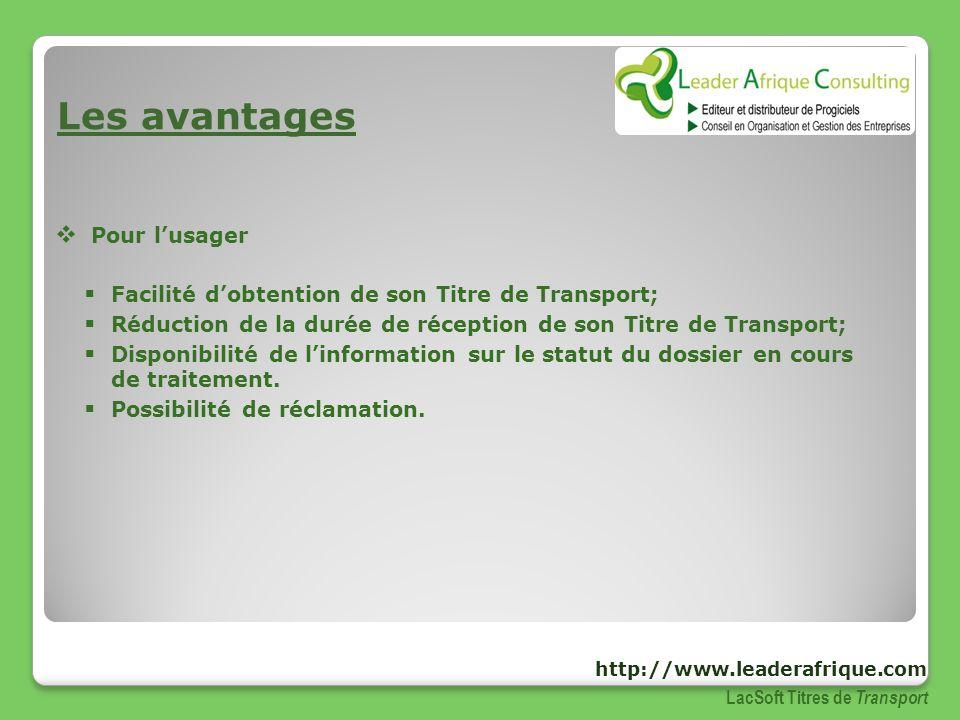Les avantages Pour lusager Facilité dobtention de son Titre de Transport; Réduction de la durée de réception de son Titre de Transport; Disponibilité