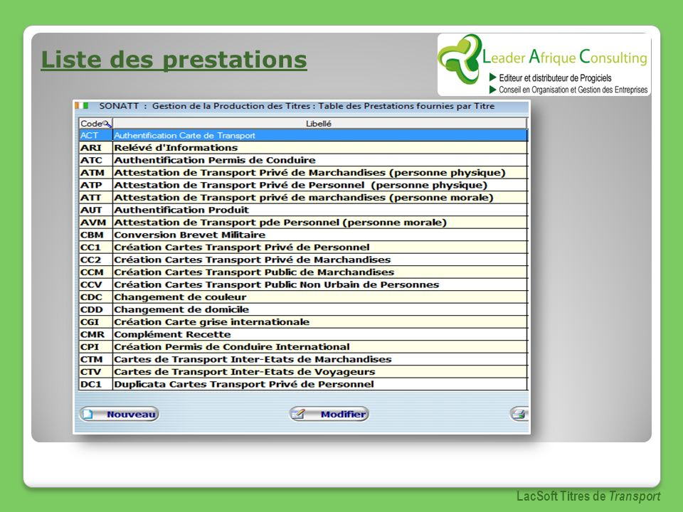 Liste des prestations LacSoft Titres de Transport