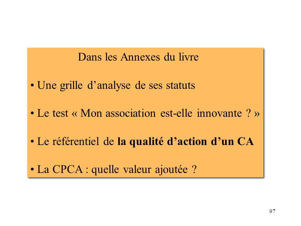 97 Dans les Annexes du livre Une grille danalyse de ses statuts Le test « Mon association est-elle innovante ? » Le référentiel de la qualité daction