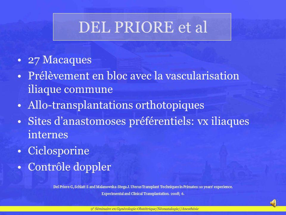 DEL PRIORE et al 27 Macaques Prélèvement en bloc avec la vascularisation iliaque commune Allo-transplantations orthotopiques Sites danastomoses préfér