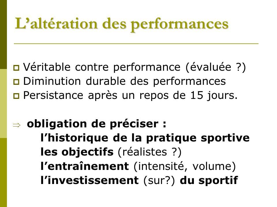 Laltération des performances Véritable contre performance (évaluée ?) Diminution durable des performances Persistance après un repos de 15 jours.