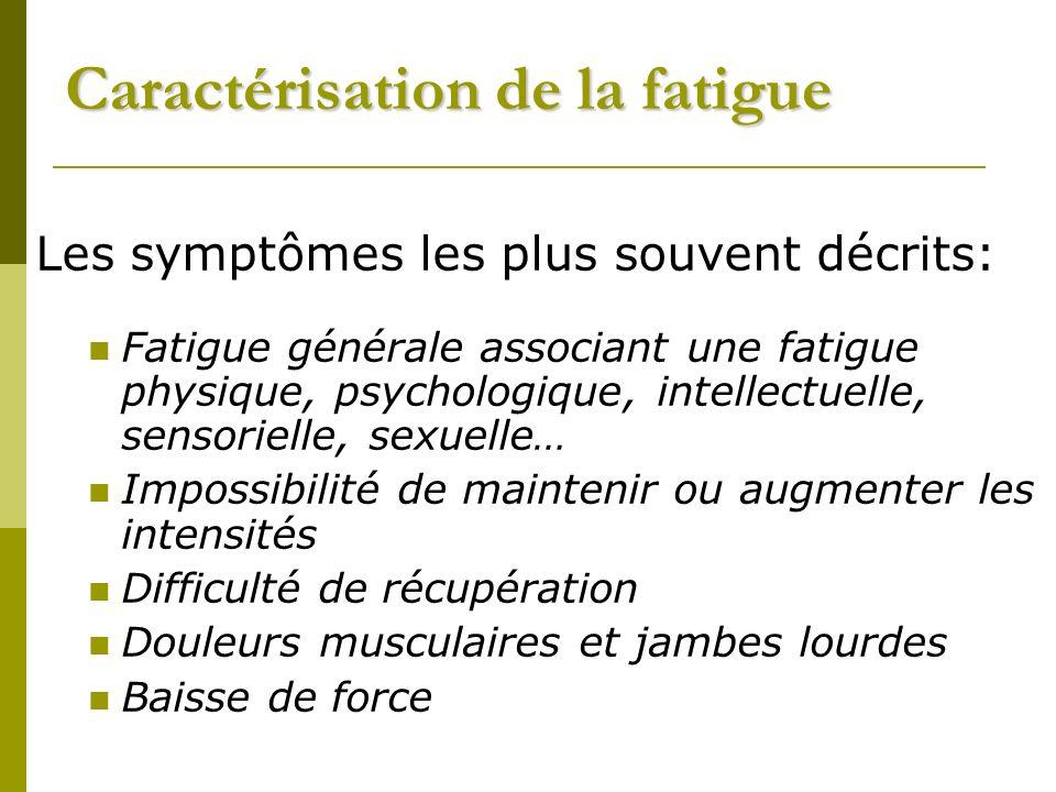 Caractérisation de la fatigue Les symptômes les plus souvent décrits: Fatigue générale associant une fatigue physique, psychologique, intellectuelle, sensorielle, sexuelle… Impossibilité de maintenir ou augmenter les intensités Difficulté de récupération Douleurs musculaires et jambes lourdes Baisse de force