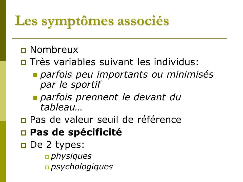 Les symptômes associés Nombreux Très variables suivant les individus: parfois peu importants ou minimisés par le sportif parfois prennent le devant du tableau… Pas de valeur seuil de référence Pas de spécificité De 2 types: physiques psychologiques