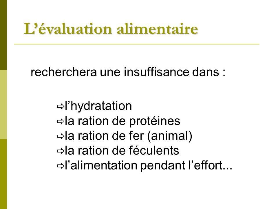recherchera une insuffisance dans : lhydratation la ration de protéines la ration de fer (animal) la ration de féculents lalimentation pendant leffort...