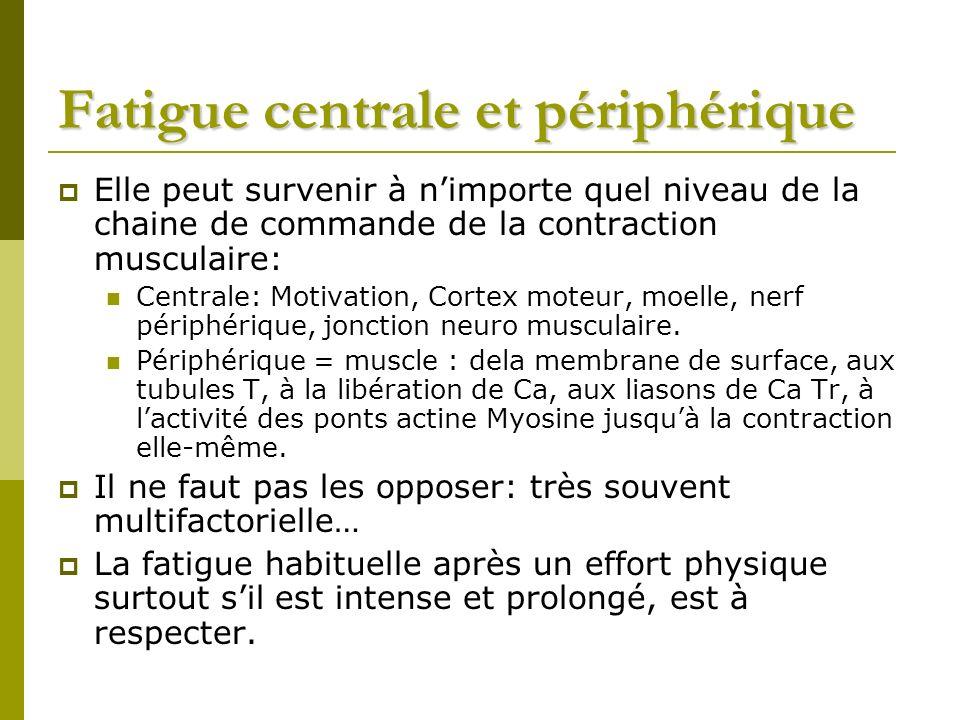 Fatigue centrale et périphérique Elle peut survenir à nimporte quel niveau de la chaine de commande de la contraction musculaire: Centrale: Motivation, Cortex moteur, moelle, nerf périphérique, jonction neuro musculaire.