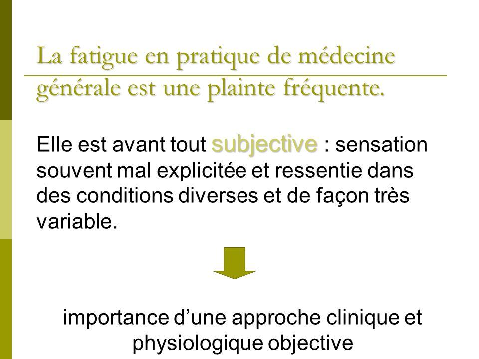 La fatigueen pratique de médecine générale est une plainte fréquente.