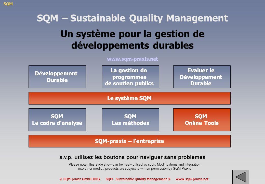 SQM © SQM-praxis GmbH 2002 SQM - Sustainable Quality Management ® www.sqm-praxis.net Fonds Structurels: un cas typique de gouvernance à plusieurs niveaux –Au moins quatre niveaux impliqués –négociations complexes –nécessité de respecter différentes cultures administratives –nécessité de considérer les différents contextes dans les régions à travers lEurope –maintien dune politique cohérente –suivi de la mise en oeuvre et évaluation des résultats G E N R L .