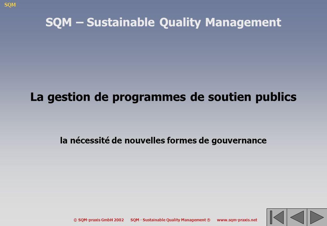 SQM © SQM-praxis GmbH 2002 SQM - Sustainable Quality Management ® www.sqm-praxis.net La gestion de programmes de soutien publics la nécessité de nouvelles formes de gouvernance SQM – Sustainable Quality Management