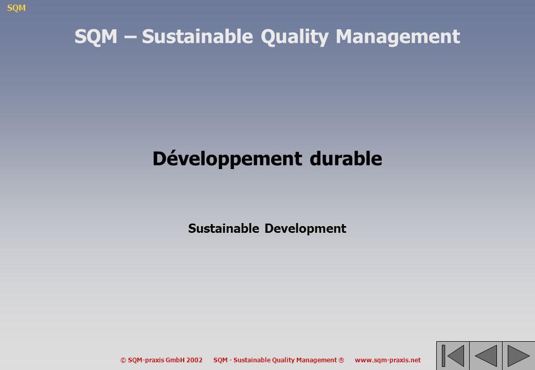 SQM © SQM-praxis GmbH 2002 SQM - Sustainable Quality Management ® www.sqm-praxis.net SQM – un système polyvalent et modulable –gestionnaires de programmes de financement concepts et outils SQM pour tout le cycle de vie dun programme sont actuellement groupe cible principal de SQM-praxis –développeurs professionnels de programmes et projets outils très polyvalents pour le développement et lévaluation partenaires compétents pour autres utilisateurs, certification par SQM-praxis –acteurs locaux apprennent à utiliser le langage SQM –acteurs politiques et de la communication intéressés dans des outils pour améliorer la transparence cadre conceptuel utile dans la communication publique –managers et consultants dans les entreprises marché potentiel très important pour SQM, pas encore doutils spécifiques