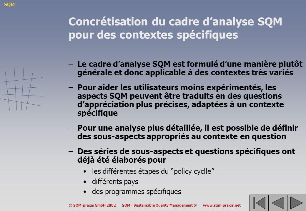 SQM © SQM-praxis GmbH 2002 SQM - Sustainable Quality Management ® www.sqm-praxis.net Concrétisation du cadre danalyse SQM pour des contextes spécifiques –Le cadre danalyse SQM est formulé dune manière plutôt générale et donc applicable à des contextes très variés –Pour aider les utilisateurs moins expérimentés, les aspects SQM peuvent être traduits en des questions dappréciation plus précises, adaptées à un contexte spécifique –Pour une analyse plus détaillée, il est possible de définir des sous-aspects appropriés au contexte en question –Des séries de sous-aspects et questions spécifiques ont déjà été élaborés pour les différentes étapes du policy cyclle différents pays des programmes spécifiques