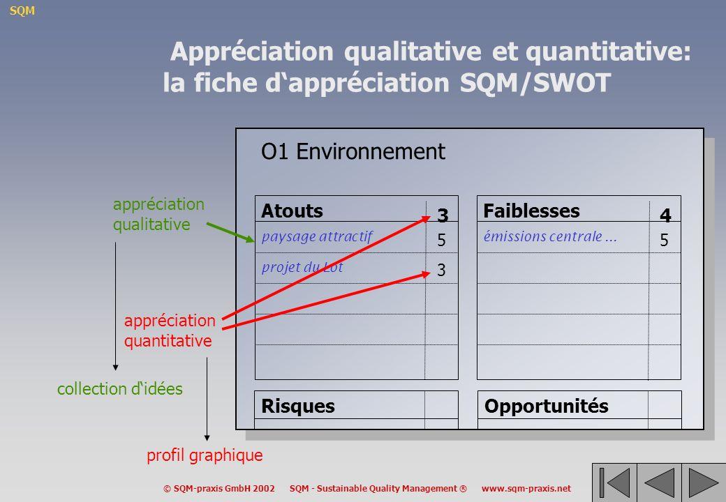 SQM © SQM-praxis GmbH 2002 SQM - Sustainable Quality Management ® www.sqm-praxis.net O1 Environnement Atouts paysage attractif projet du Lot 5 3 3 Faiblesses émissions centrale...