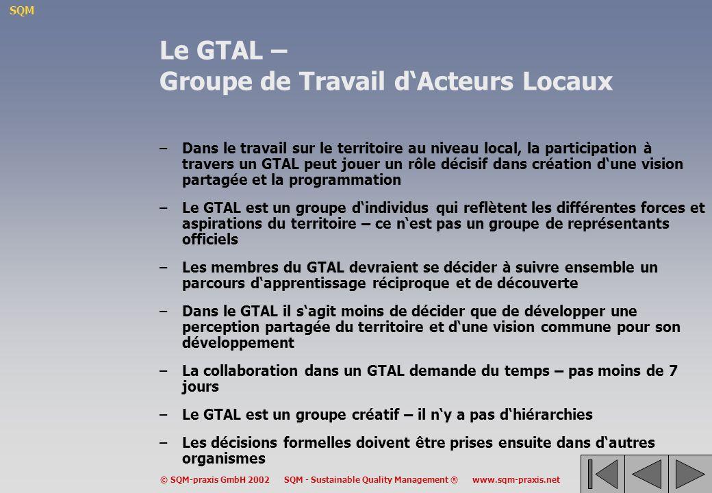 SQM © SQM-praxis GmbH 2002 SQM - Sustainable Quality Management ® www.sqm-praxis.net Le GTAL – Groupe de Travail dActeurs Locaux –Dans le travail sur le territoire au niveau local, la participation à travers un GTAL peut jouer un rôle décisif dans création dune vision partagée et la programmation –Le GTAL est un groupe dindividus qui reflètent les différentes forces et aspirations du territoire – ce nest pas un groupe de représentants officiels –Les membres du GTAL devraient se décider à suivre ensemble un parcours dapprentissage réciproque et de découverte –Dans le GTAL il sagit moins de décider que de développer une perception partagée du territoire et dune vision commune pour son développement –La collaboration dans un GTAL demande du temps – pas moins de 7 jours –Le GTAL est un groupe créatif – il ny a pas dhiérarchies –Les décisions formelles doivent être prises ensuite dans dautres organismes